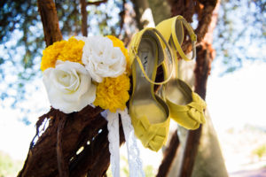 Yellow Wedding Shoes and Bouquet Botanical Gardens, Birmingham, AL